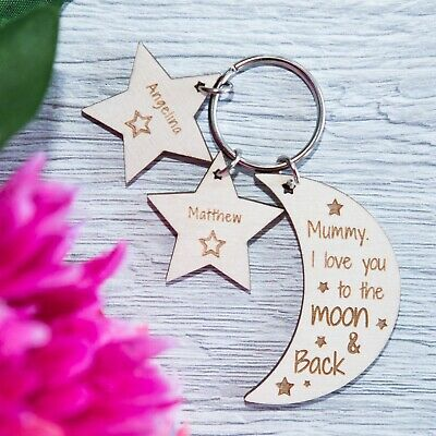 PERSONALISED WOODEN KEYRING GIFT for MUM or FATHERS DAY MOON STARS KEYRING
