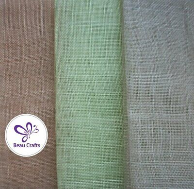 Sinamay Fabric for Millinery Hat Making 3 Mixed Colours Natural Apple Green Grey