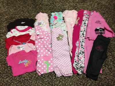 8b760fd7f BABY GIRLS CLOTHES SLEEPERS Lot of 26 Size Newborn 0-3 Months Fall ...