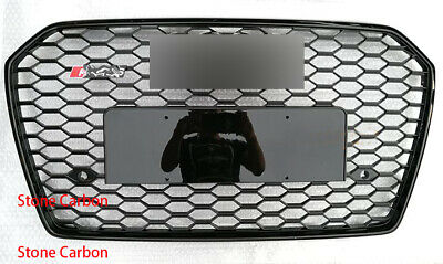 RS Style Grille Grill For 05-10 11 Audi A6 C6 S6 Glossy Black Frame Black Rings