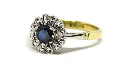 18ct Yellow Gold Art Deco Sapphire 0.33ct & Diamond Cluster Ring SIZE L VINTAGE