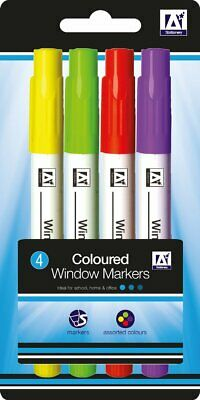 Coloured Window Markers Liquid Chalk Pens Dry Wipe Bright Finish Colours Xmas UK
