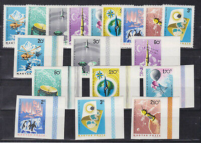 hungary 1965 Sc 1659/67 space .two sets ,perf + imperf.MNH      o1178