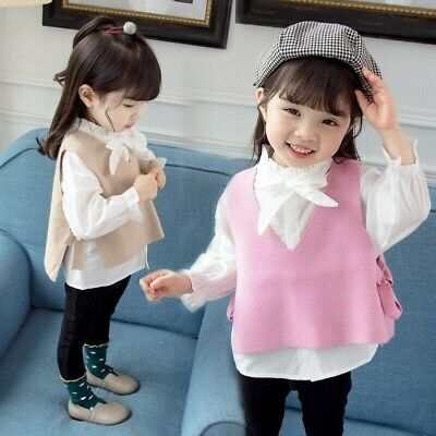 2Pcs Baby Girls Knitted Vest + Bowknot Shirt Lace-Up Waistcoat Frilly Blouse Set