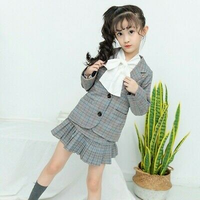 2Pcs Girls Plaid Suit Coat + Pleated Skirt Preppy Jacket Frilly Skirts Checkered