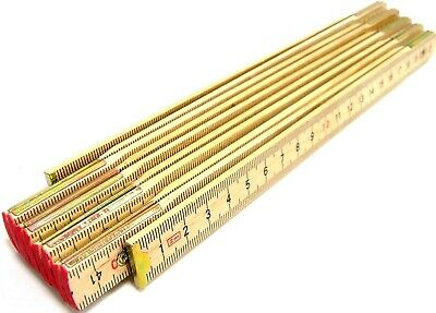 2M Wooden Folding Rule Wood Ruler Measuring Stick MM CM Metric 2 Metre Measure