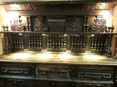 Antique Oak Dresser very large sideboard possibly jacobean with ornate carvings
