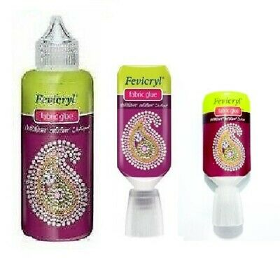 Fevicryl Fabric Glue No Stitch In 80ml 30ml 20ml Glue Lace Ribbon Applique UK