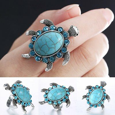 Fashion Women Adjustable Sea Knuckle Turtle Lover Turquoise Ring Silver Jewelry