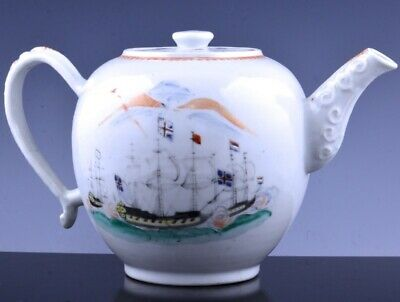 VERY RARE c1780 CHINESE EXPORT FAMILLE ROSE SHIP BATTLE TEAPOT QIANLONG