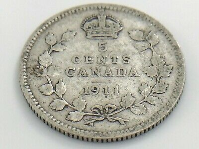 1911 Canada Small Five 5 Cent Silver Circulated Canadian George V Coin I919