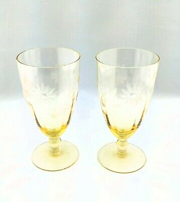 2 Vintage 1930's Yellow Topaz Depression Glass Lancaster Jubilee Footed Tumbler