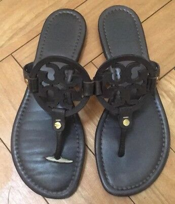 13a6ea32f Tory Burch Dark Chocolate Brown Miller Sandals Flip Flops Millers Size 7 M  Auth