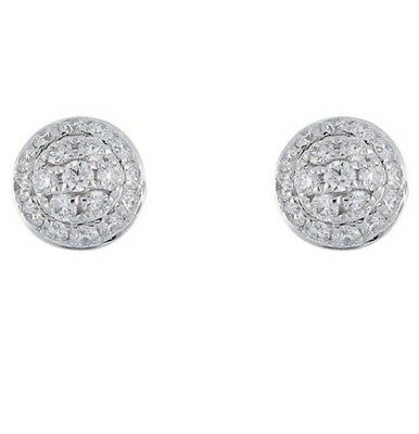 d11fbceef BONY LEVY 18K White Gold Pave Diamond Round Halo Stud 0.17ctw Earrings $895  NEW