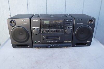 Vintage Sony CFD-445 CD/Radio/Cassette-Corder Detachable Speakers-AC Cord