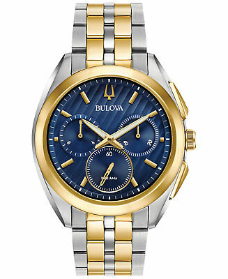 *BRAND NEW* Bulova Men's Two Tone Stainless Steel Case Blue Dial Watch 98A159