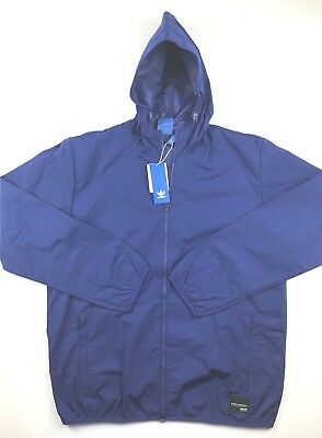 88e7483bdb30 Adidas Orginals Mens Large Blue EQT PDX Full Zip Hooded Windbreaker Jacket   90