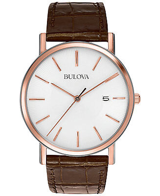 *BRAND NEW* Bulova Men's Brown Leather Strap Rose Stainless Steel Watch 98H51