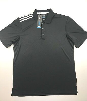 Adidas Golf Mens Large Black Climacool Three Stripe 3 Life Golf Polo Shirt