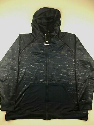 Adidas Mens Medium Navy Blue Electric Basketball FZ Hoodie Sweatshirt NWT $75