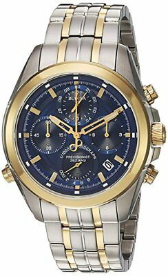 *BRAND NEW* Bulova Men's Blue Chronograph Dial Two Tone Steel Case Watch 98B276