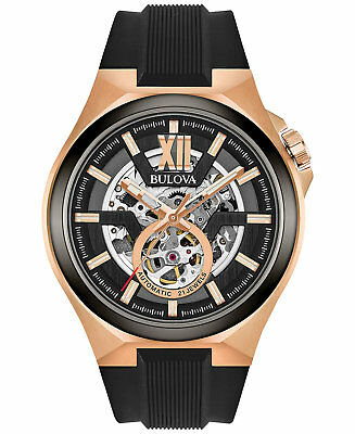 *BRAND NEW* Bulova Men's Black Silicone Strap Rose Gold Tone Steel Watch 98A177