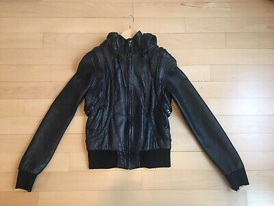 d16e2de0534 Barneys New York COOP Leather Moto Jacket with Removable Hoody and Sleeves