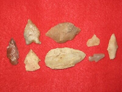 Authentic Native American artifact arrowhead 8) Arkansas points BN131