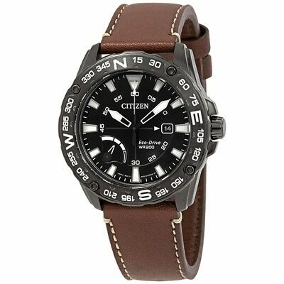 *BRAND NEW* Citizen Men's Eco-Drive Brown Leather Black Steel Watch AW7045-09E