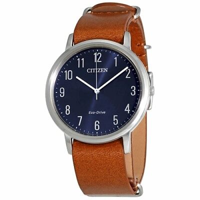 *BRAND NEW* Citizen Men's Eco-Drive Blue Dial Brown Leather Watch  BJ6500-12L