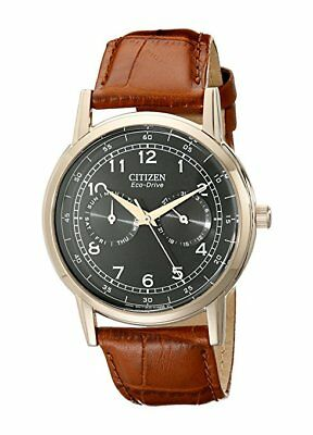 *BRAND NEW* Citizen Men's Eco Drive Black Dial Brown Leather Watch AO9003-08E