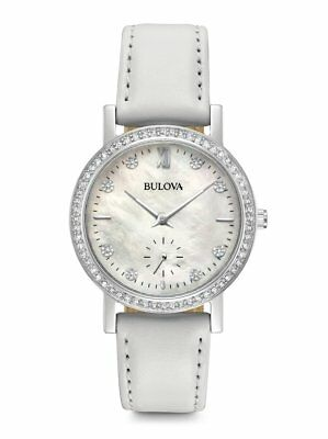 *BRAND NEW* Bulova Women's White Leather Strap Stainless Steel Case Watch 96L245