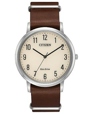 *BRAND NEW* Citizen Men's Eco-Drive Brown Leather Strap Steel  Watch BJ6500-21A