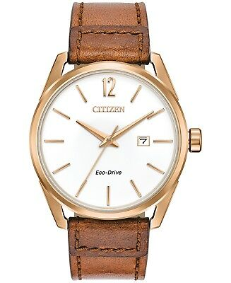 *BRAND NEW* Citizen Men's Eco-Drive Brown Leather Steel Case Watch BM7413-02A