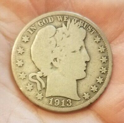 1913-D BARBER SILVER HALF DOLLAR - GOOD+ condition - Honest wear - Nice original