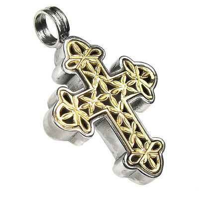 Gerochristo 5373~ Solid Gold & Sterling Silver Byzantine Cross Pendant