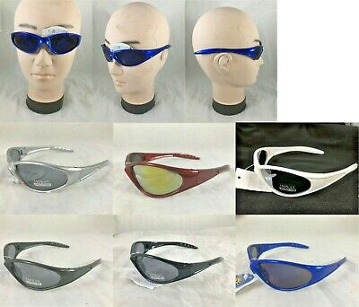 0325cde21f9 Mens Sports Wrap Sunglasses Black Blue Red White Gray Shades 100% UV  Protection