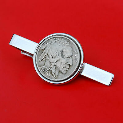 US 1936 Indian Head Buffalo Nickel 5 Cent Coin Tie Clip Clasp NEW