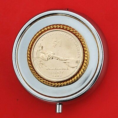 US 2011 Native American $1 Uncirculated Coin Silver Plated Pill Box NEW