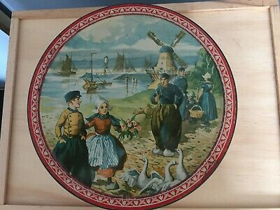 Vintage Arnotts 3 lb Tin c1930s Dutch Scene Good Condition For Age