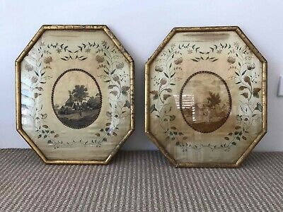 Pair of English Antique Framed Embroidered Silk Pictures
