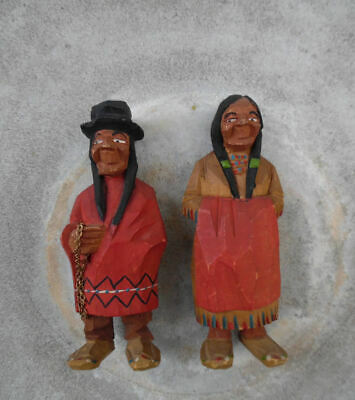 VINTAGE HAND CARVED WOOD CARICATURE FIGURES 1930's QUEBEC, CANADA LOT OF TWO