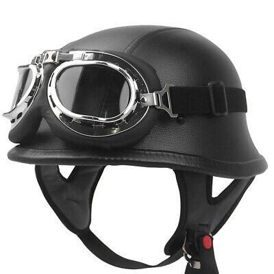 a6daa19c25e German Style Vintage Motorcycle Helmet Half Open Face Helmet with Goggles  W7F2