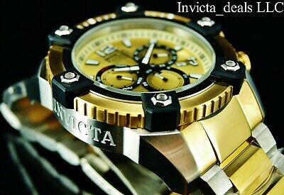 Invicta Mens 63mm Grand Arsenal Swiss Chronograph 18K Gold Plated Two Tone Watch