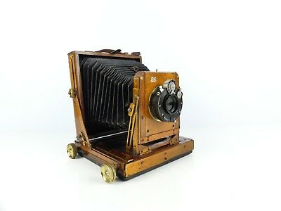 Vintage Small 1/4 Plate Wood & Brass Camera With Cooke Lens