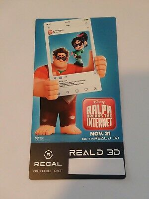 Wreck It Ralph Breaks The Internet Regal REAL D 3D Collectible Ticket of 500