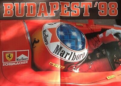 Michael Schumacher Authentic Signed Budapest 98 Poster Aftal#198