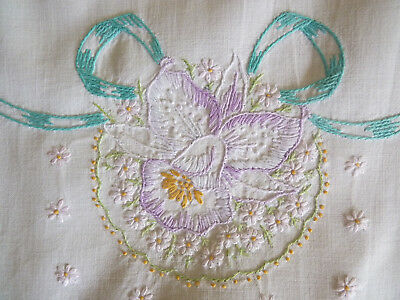 ORCHIDS & BOWS Vintage Hand Embroidered Table Runner