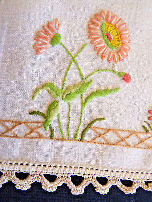 RADIANT RANUNCULUS  Large Doily Table Centre Vintage Hand Embroidered