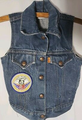Vtg 80s Levi's Just for Girl Denim Jean Vest Orange Label Statue Liberty Patch 5